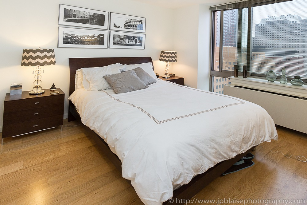 Bedroom of beautiful Dumbo condo apartment in Downtown Brooklyn