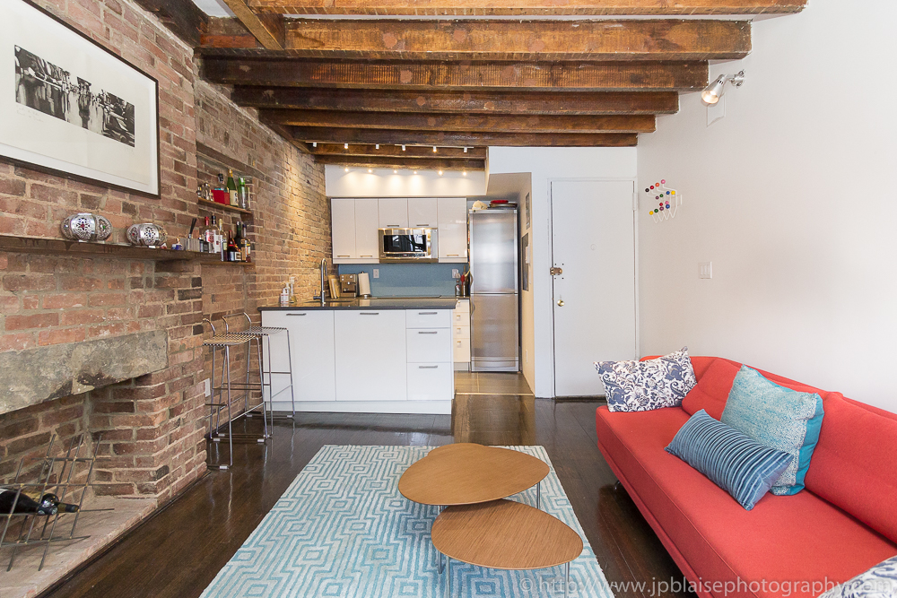 New York Interior Photography : living room with open kitchen in the East Village, New York City