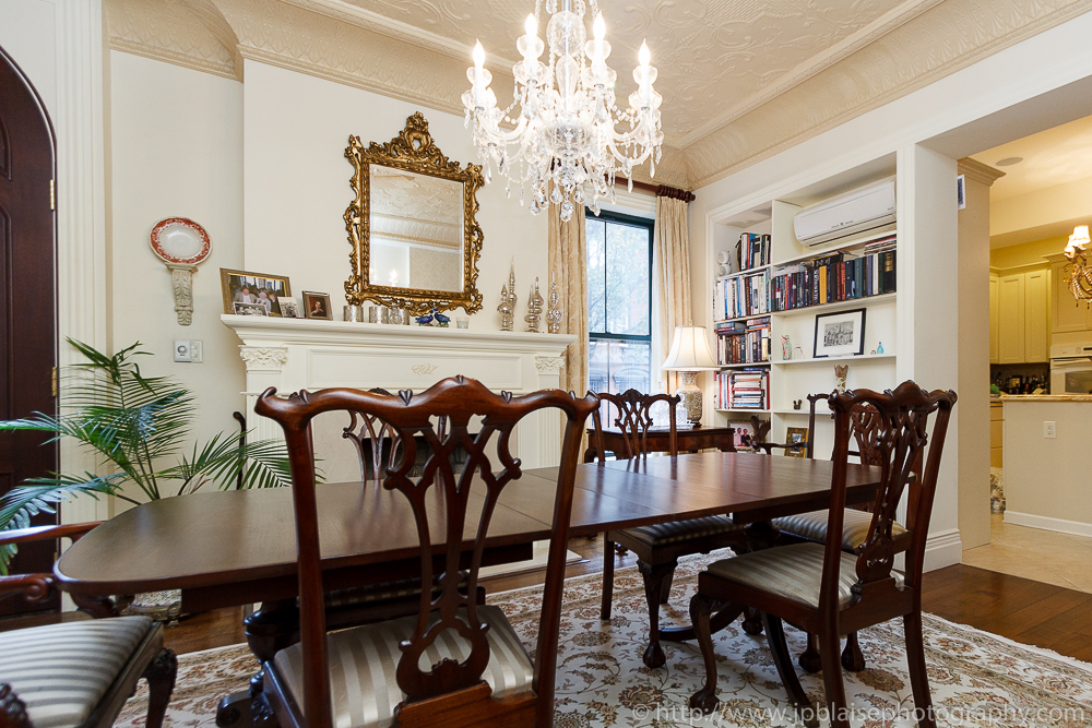 Dining table of townhouse in Boerum Hill Brooklyn, ny