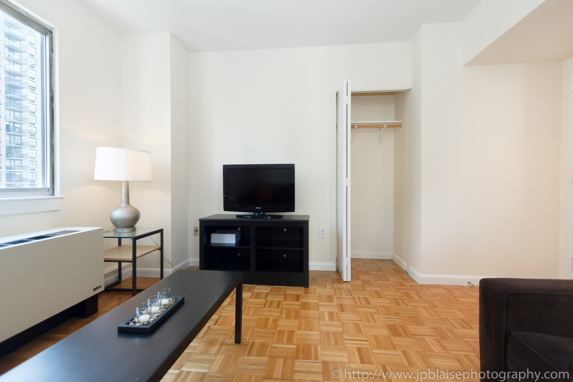 NYC apartment photographer two bedroom midtown living room Closets