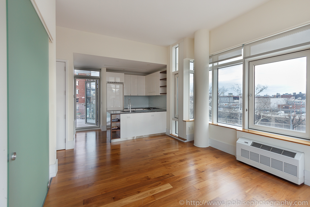 Real Estate Photography work : Living room in Long Island City condo