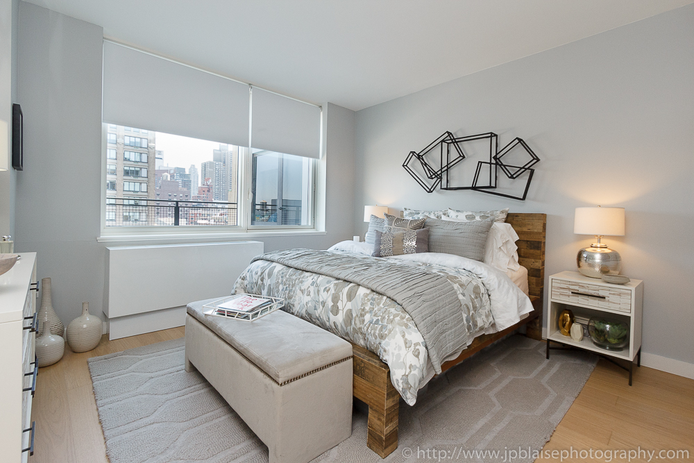 of the bedroom of a midtown west one bedroom apartment new york