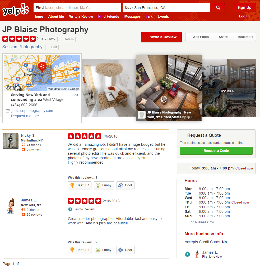 Yelp - reviews on JP Blaise photography services (New York and Real estate and Interior Photographer)